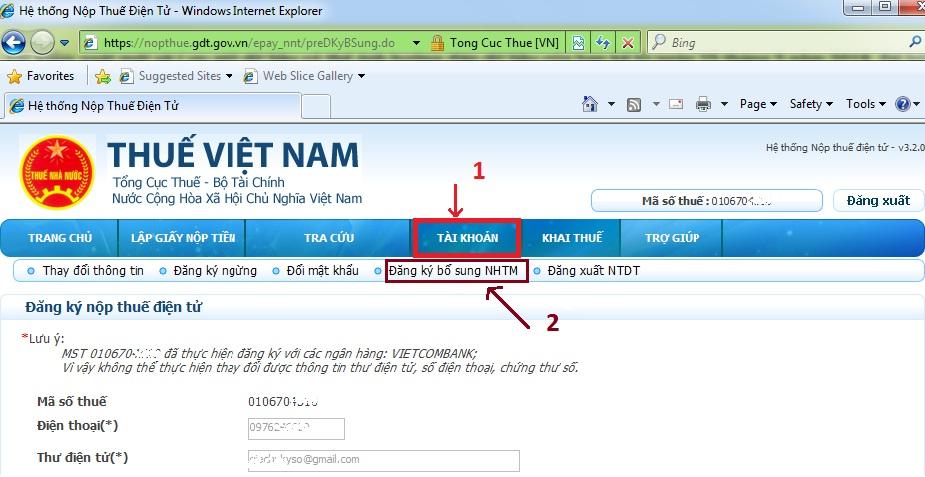 Thay đổi tài khoản nộp thuế điện tử