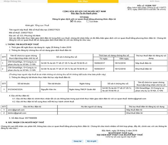 Đăng ký bằng phương thức nộp thuế điện tử