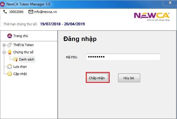 Đăng nhập chứng thư số NewCa