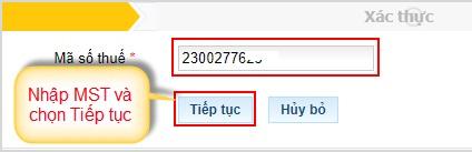 nhập mã số thuế đăng ký thuế điện tử