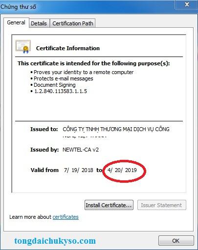 Thông tin chữ ký số Newtel