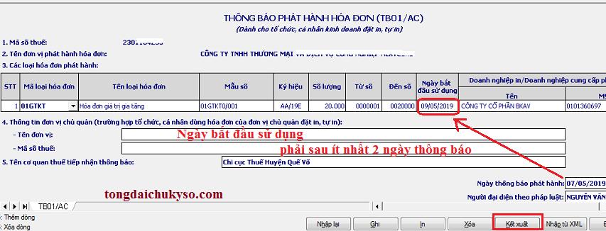 Thông báo phát hành hóa đơn điện tử qua mạng
