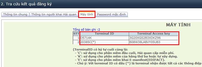 Tra cứu Terminal ID